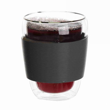 Double Wall Glass Cup With Rubber