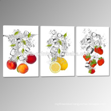 Fresh Fruit Canvas Print Art/Fruit in Water Canvas Printing/Triptych Picture for Wall Decor