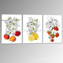 Печать на холсте из свежих фруктов / Фрукты в водяной печати Холст / Триптих Картина для декора стен