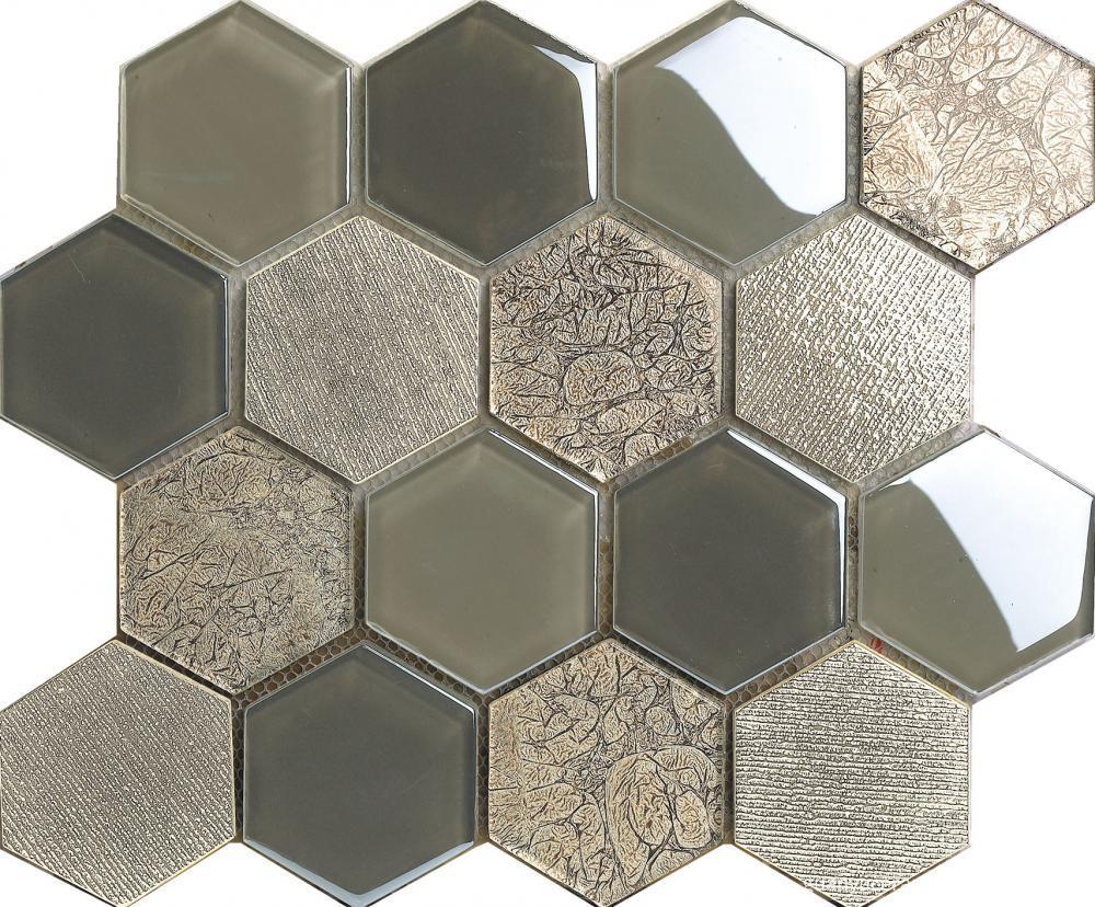 Gray Color Hexagon Crystal Glass Mosaic