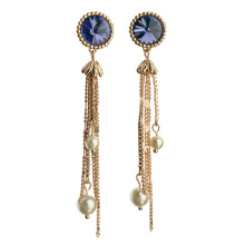 Fashion High Quality 18k long chain crystal tassel hanging earring