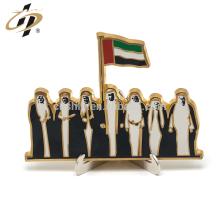 Shuanghua suministro de regalo de día nacional de los Emiratos Árabes Unidos medalla de soporte de metal de oro 24k