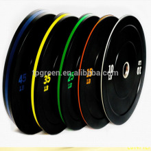 Gym colored rubber power lifting rubber bumper plates