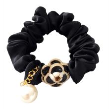 Chiffon Scrunchies Black White Camellia Hair Tie Bow Rubber Rope Horsetail Vintage Korean Elastic Hair Band Accessories 2021