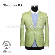2015 new fashion style men's green fit business men suit