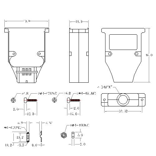 DBZU-15XX1 2 D-SUB METAL HOODS,15P,U TYPE, SHORT SCREW
