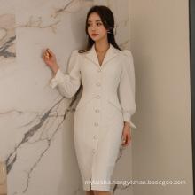 2020 Spring New Long Sleeve Lapel Single Breasted Professional Commuting Slim Temperament Long Dress Ladies' V-neck Office Dress