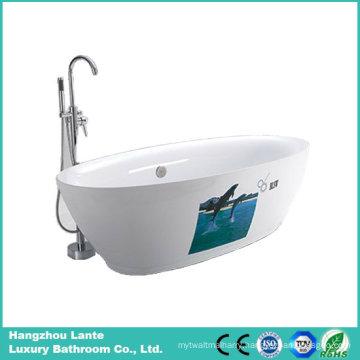 Fashion Design Ellipse Freestanding Bathtub with One Side Printed (LT-5E)