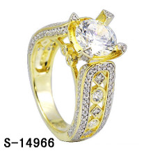 925 plateó el anillo plateado oro de las mujeres del anillo de boda 14k.