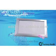 ADShi super mince cadre en aluminium argenté Boîtes d'éclairage LED pour le tatouage
