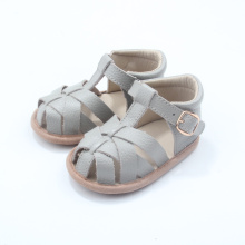 Fancy Wholesale Echtes Leder Baby Sandalen