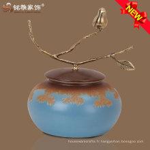 Accessoires de maison colorés vase en céramique en acier inoxydable pour décoration de meubles