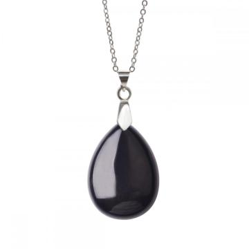 Natural Black Onyx 28x35MM Waterdrop Pendant Necklace with 45CM Silver Chain