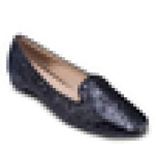 Zapatos planos de la bailarina de las mujeres de la tela del brillo 2016 zapato ocasional del vestido del dedo del pie del calzado ocasional