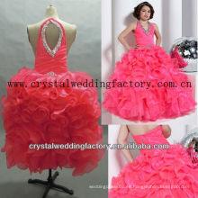 El V-neckline caliente libre del envío 2013 rebordeó el vestido por encargo diferenciado estriado de la muchacha de flor del desfile del vestido de bola del halter CWFaf4529