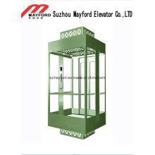 Ascenseur panoramique en verre de forme carrée avec la salle des machines