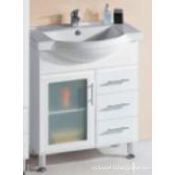 Современная сантехника глянцевый Белый МДФ деревянные Тщеты ванной комнаты с одной стеклянной дверью (P192-750Г)
