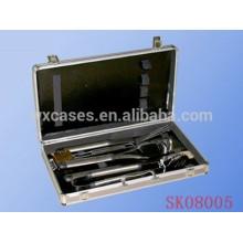 Maleta de ferramentas de alumínio prata para conjunto de ferramentas para churrasco