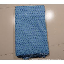 Sky Blue African Embroidery Lace Fabric With Stones