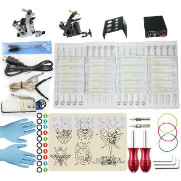 TK108006 Starter Tattoo Kit 2 Machine Guns Grips Needles Power Set Equipment Supplies