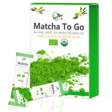 Bâtonnets de service individuel Matcha, emballage de service Matcha, poudre de matcha
