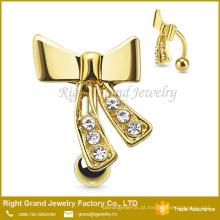 Aço inoxidável banhado a ouro bowknot anel de barriga de cristal