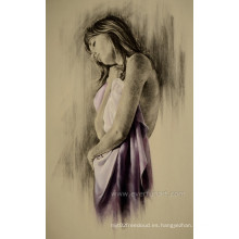 Enmarcado al por mayor a mano desnuda mujer pintura aceite