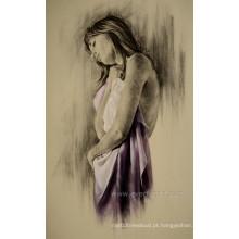 Emoldurado Atacado Handmade Nude Woman Oil Pintura