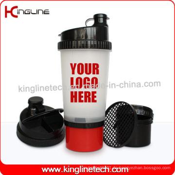 Neue Design 700ml Plastik-Protein-Shaker-Flasche mit Fach auf der Unterseite und Pillbox im Deckel, BPA frei (KL-7001)