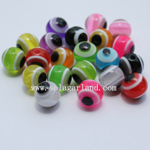 Mixed Color Evil Eye Striped Round Resin Spacer Beads For Jewelry Charm