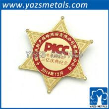 engrave logo star pin badge custom logo star label badge pin