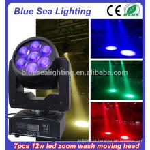 7x12w rgbw zoom led usado movendo cabeça luzes iluminação colorida palco