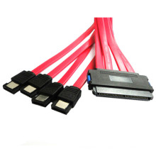 Red 3.3ft 32pin Sas to SATA Flat Cable