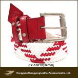 Ladies Polyester with PU Fashion Web Belt