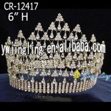 6 Inch Round Gold Rhinestone Tiaras