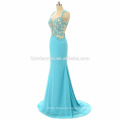 2017 Elegant women luxury blue prom dress sexy long design backless laced mermaid custom prom dress