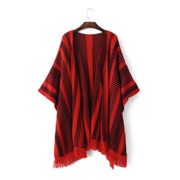 Женская полосатый вязаный палантин обертывания шарф пончо шаль (SP285)