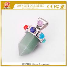 Six Pyramid Column Green Aventurine Gemstone Pendentif 10SP0172 avec Seven Chakra stones on Silver Alloy pour bijoux féminins