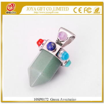 Six Pyramid Column Green Aventurine Gemstone Pendant 10SP0172 with Seven Chakra stones on Silver Alloy for women jewelry
