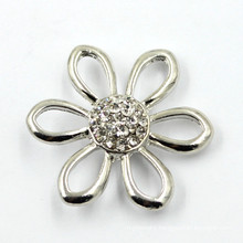 Flower Shaped Fashion Rhinestones Snap Metal Buttons for Decoration