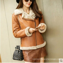 Fashion Women′s Shearling Coat Short Style