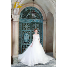 ED Bridal New Fashion Ball Gown Off Shoulder 3/4 Sleeve Lace-up Wedding Dresses With Lace Appliqued 2017