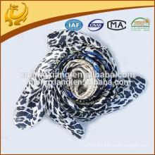 2015 New Design Leopard impresso estilo quadrado cetim 100% seda para mulheres