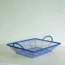 Blue rectangular wire storage basket