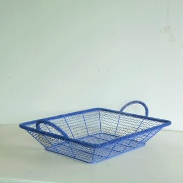 Cesta de armazenamento de arame retangular azul