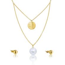 Африканские Свадебные Мода Большой Жемчужное Ожерелье Свадебные Серьги Комплект Ювелирных Изделий