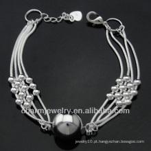 Moda 925 prata banhado pulseiras com charme BSS-030 bola