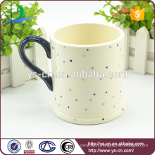 Hot sale dot decal ceramic cup in white