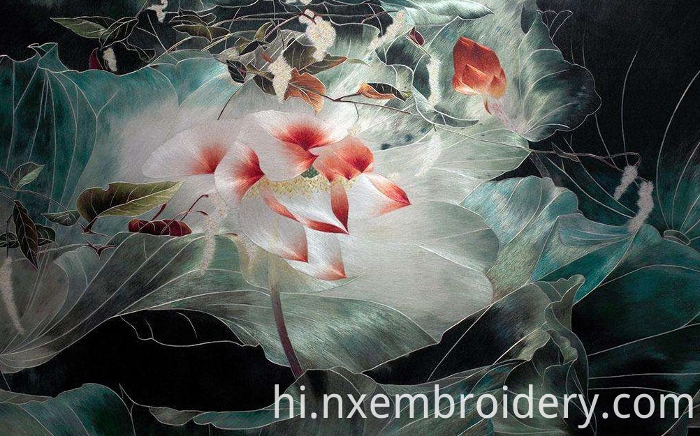 hand embroidery hang picture-peony