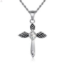 Estilo popular mini colar de pingente de anjo, pingente de anjo dourado gravado